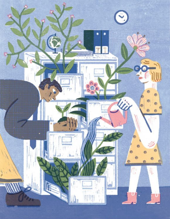 Illustration of employees engaging in sustainability at work.