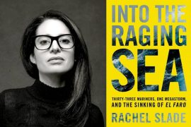 Rachel Slade next to her book cover of Into the Raging Sea