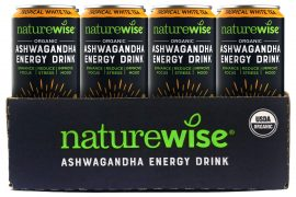 Naturewise Ashwagandha energy drinks in a can